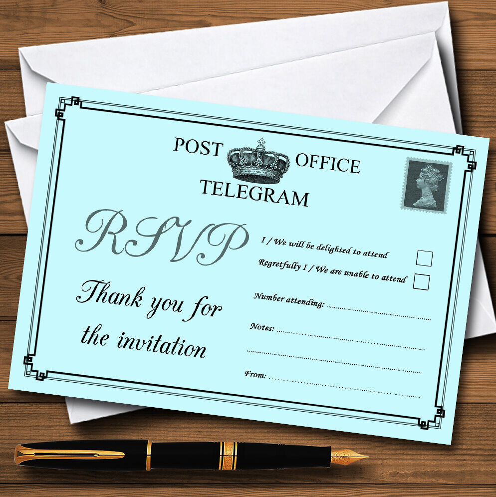 VINTAGE telegramma Elegante Personalizzati Aqua Personalizzati Elegante RSVP CARDS ba83e4
