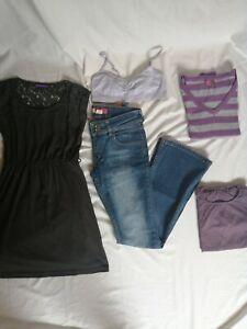 Lot-de-5-vetements-12-ans-fille-robe-dos-dentelle-marron-Gemo-neuf