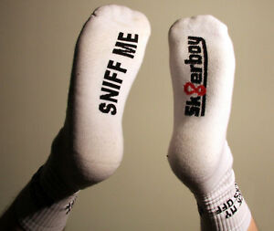 Sk8erboy-Sniff-me-Socken-Crew-Socks-original-weis-NEU-OVP