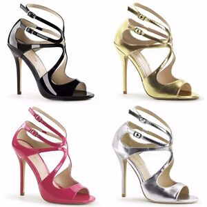 PLEASER-Amuse-15-Sexy-Black-Pink-Gold-Silver-Strappy-Dress-Party-Heels-Size-4-13