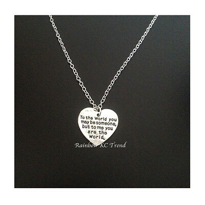 You Are The World Heart Necklace Mothers Day Girlfriends Birthday Special Gift