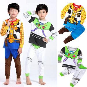 3431cd671 Kids Characters Pajamas Set Boys Girls Buzz Lightyear Cotton Cartoon ...