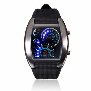 12-Hour Dial Mens Black Stainless Steel Sports Analog Quartz LED Wrist Watch