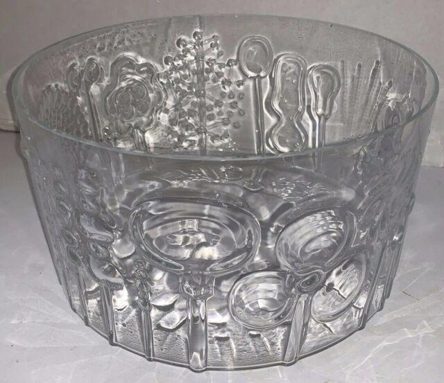 Iittala Finland Crystal Oiva Toikka Flora Glass Serving Bowl 9 1 2 Arabia Mcm Ebay
