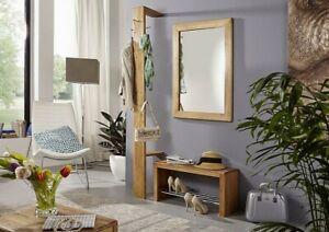 Details zu Massivholz Garderoben-Set 3teilig Wildeiche geölt Dielen Möbel  Flur-garderobe