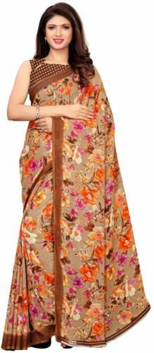 Brown Floral Printed Saree Party Wear Indian Pakistani Ethnic Designer Sari L1