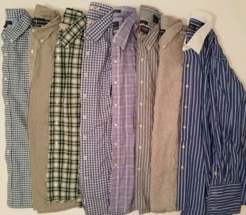 Lot of 4 Button Front Shirts Long Sleeve Mens Size Large