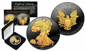 Black-RUTHENIUM-1-Oz-999-Fine-Silver-2016-American-Eagle-US-Coin-with-Gold-Clad