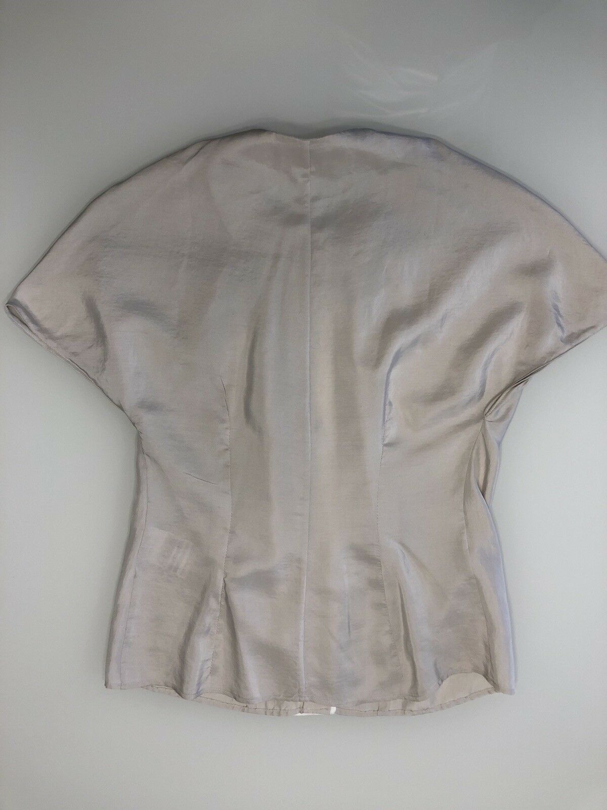 Balenciaga Silk Blouse Top Taupe Cap Sleeves Size… - image 3