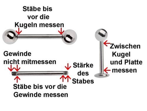 Ohr Piercing Schmuck Ohrstecker Fake Plug schwarz 8mm Größe Acryl Stab 1,2x6mm
