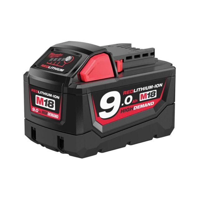 Milwaukee M18b9 Batterie 9.0ah Rouge Lithium-Ion 18v Perceuse Haute Performance