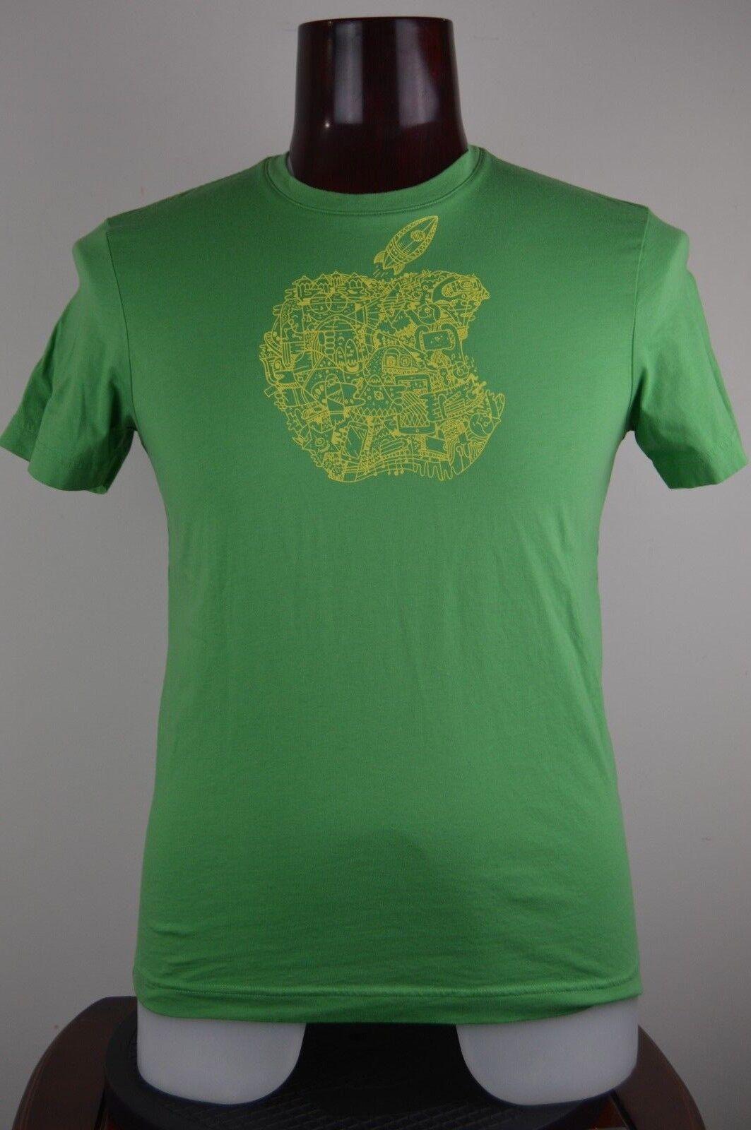Apple Mens Green S Graphic T Shirt Work Tee Employee Un