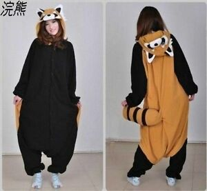 Hot Unisex Adult Pajamas Kigurumi Cosplay Costume Animal Raccoons