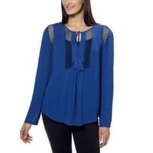NEW-Joseph-A-Ladies-039-Crinkle-Blouse-Crochet-Detail-Loose-Fit-Top-Shirt-Blue-S