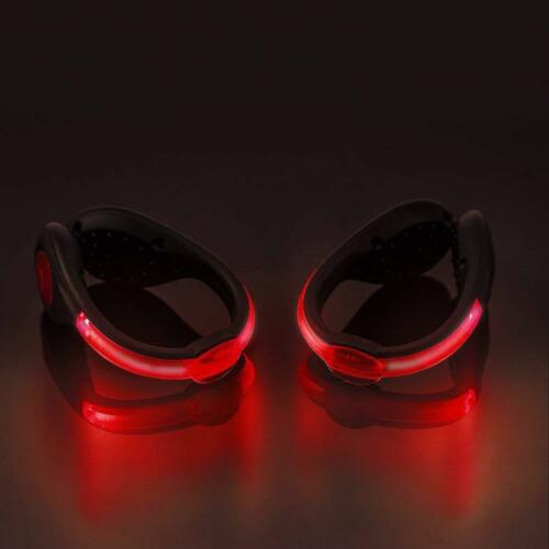 Rechargeable LED SHOE LIGHTS Glow Flash running sport cycling USB CHARGER PAIR