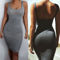Women Summer Slim Bodycon Backless Evening Party Cocktail Clubwear Mini Dress