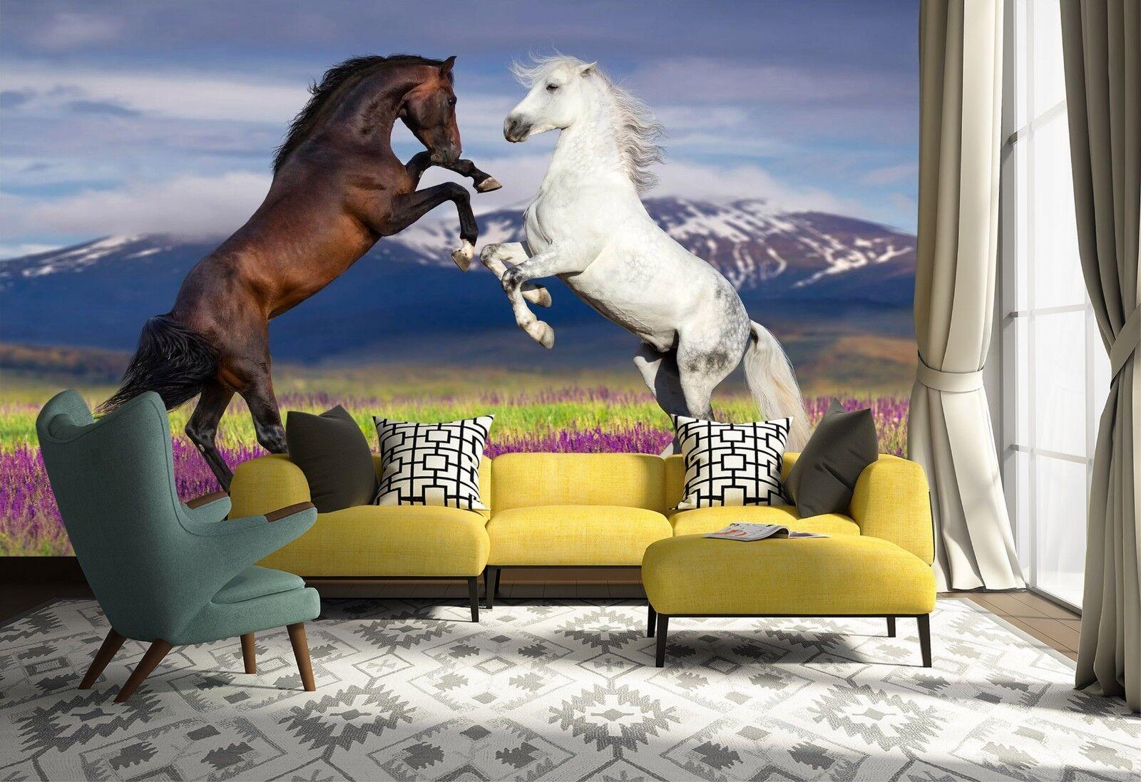 3D Horse Scape 7166 Wallpaper Mural Wall Print Wall Wallpaper Murals US Lemon