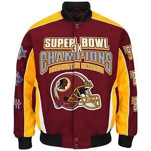 bddaac3a Details about Washington Redskins 3-Time Super Bowl Champion Jacket -Size  Large Free Ship