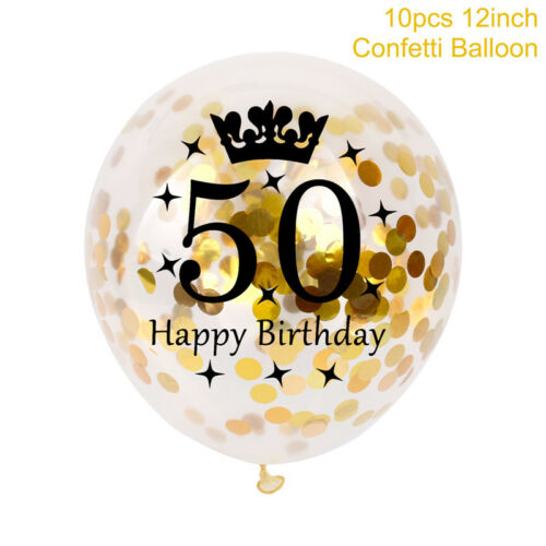 "10PC 12/"" 30 40 50th Happy Birthday Confetti Filled Number Balloons Party Decor"