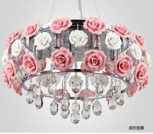quality design 903ea 6310a 50cm Ceramic Rose Flower Chandelier Modern Crystal Pendant ...