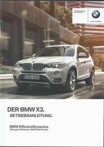 BMW-X3-F25-Betriebsanleitung-2016-Bedienungsanleitung-Handbuch-Bordbuch-BA