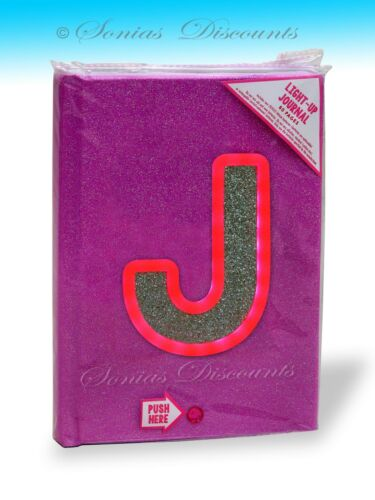 """JUSTICE LIGHT-UP//BLINKING INITIALS /""""J/"""" or /""""T/"""" JOURNAL DIARY NWT"""
