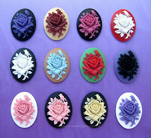 12 Unset WHITE ROSE on Pretty PINK 18mm x 13mm Costume Jewelry Craft CAMEOS