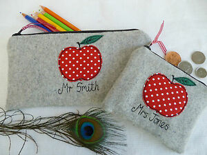 Personalised-Teacher-Purse-or-Pencil-Case-Apple-on-Grey-Wool-Choice-of-Wording
