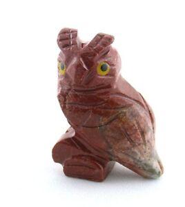 Carved Natural Jasper Wise Old Owl Carving Gem Stone Gemstone EBS7332