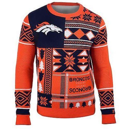 Ugly Weihnachten Pullover NFL Denver Broncos Aufnäher Fußball Rundhals