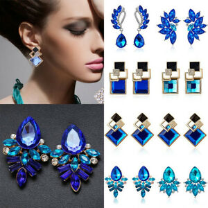 Womens-Blue-Statement-Silver-Plated-Crystal-Big-Dangle-Drop-Earrings-Fashion