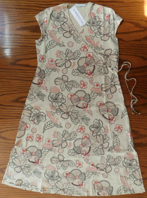 Ladies long sleeveless dress Emreco wooden beads cotton floral print size 18 New