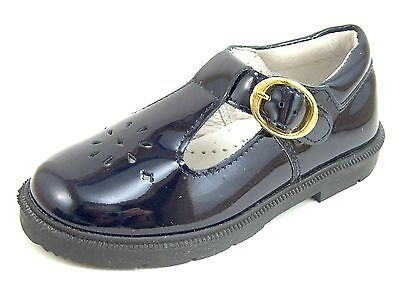 Girls/' European Navy Blue Leather Dress Shoes DE OSU-FARO F-3177 Size 10-12