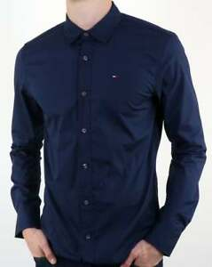 61e22614e2 Image is loading Tommy-Hilfiger-Cotton-Stretch-Poplin-Shirt-in-Navy-