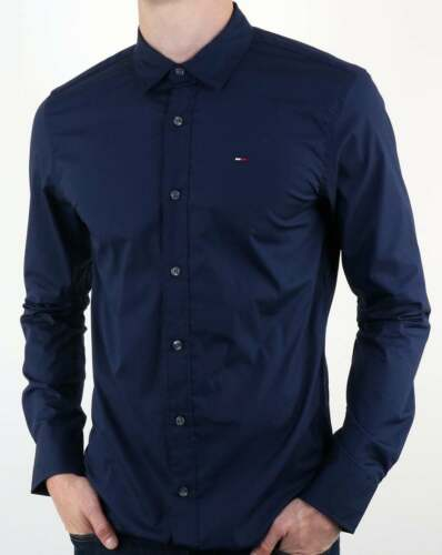 Tommy HILFIGER cotone stretch Popeline Camicia in Navy Blue-manica lunga