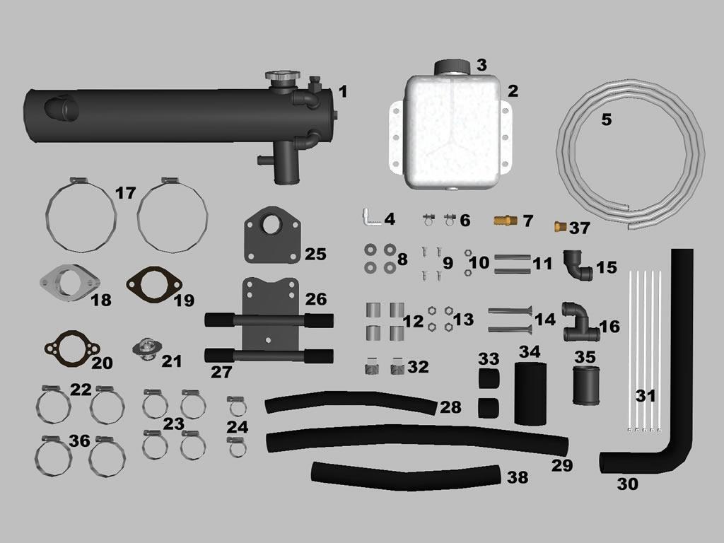 4.3L, 5.0L, 5.7L GM Geschlossene Frisch Wasserkühlung Set. Mercruiser 1985-2001