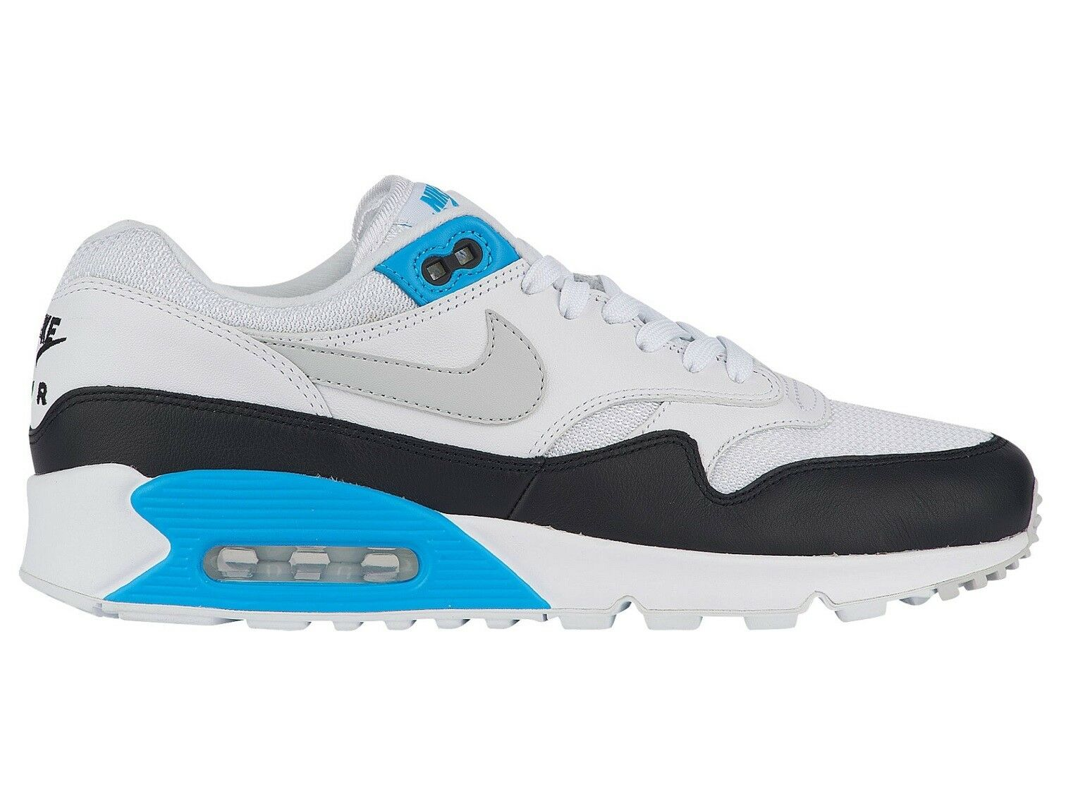 Nike Air Max 90 1 Laser bluee Mens AJ7695-104 White White White Black Running shoes Size 9 9bb399