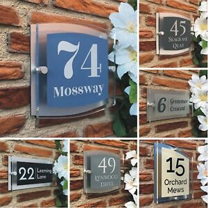 154b5a8b566 Image is loading House-Number-PlaqueS-Modern-Clear-Acrylic-Personalised-Door -