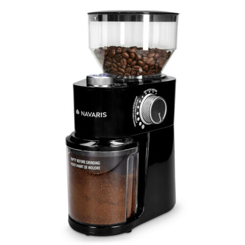 Elektrische Kaffeemühle Edelstahl Scheibenmahlwerk 200W Kaffee Mühle 18 Stufen
