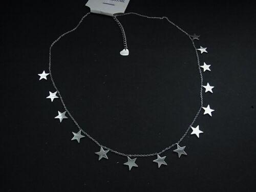 Real Cadena de acero inoxidable collar estrella estrellas