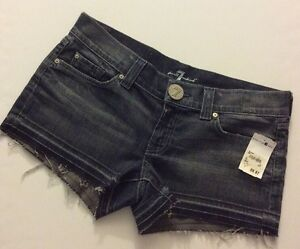 New-148-7-For-All-Mankind-Distressed-Frayed-Hem-Stretch-Jean-Shorts-Size-32