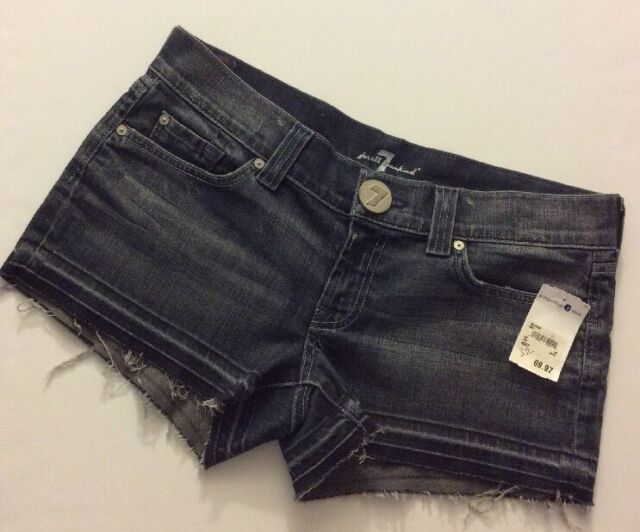 New $148 7 For All Mankind Distressed Frayed Hem Stretch Jean Shorts Size 32