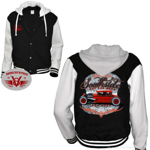 1283 * Hot Rod BASEBALL HOODIE GIACCA VINTAGE CAR Automotiv Oldschool Kustom