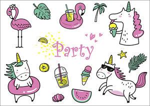 Das Bild Wird Geladen Einhorn Pool Party Einladungskarten Zum  Kindergeburtstag O Ins
