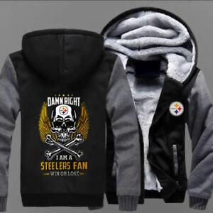 huge selection of 756c0 3c742 Details about Winter Thicken Hoodie Team Pittsburgh Steelers Sweatshirt  Lacer Zipper Jacket#as