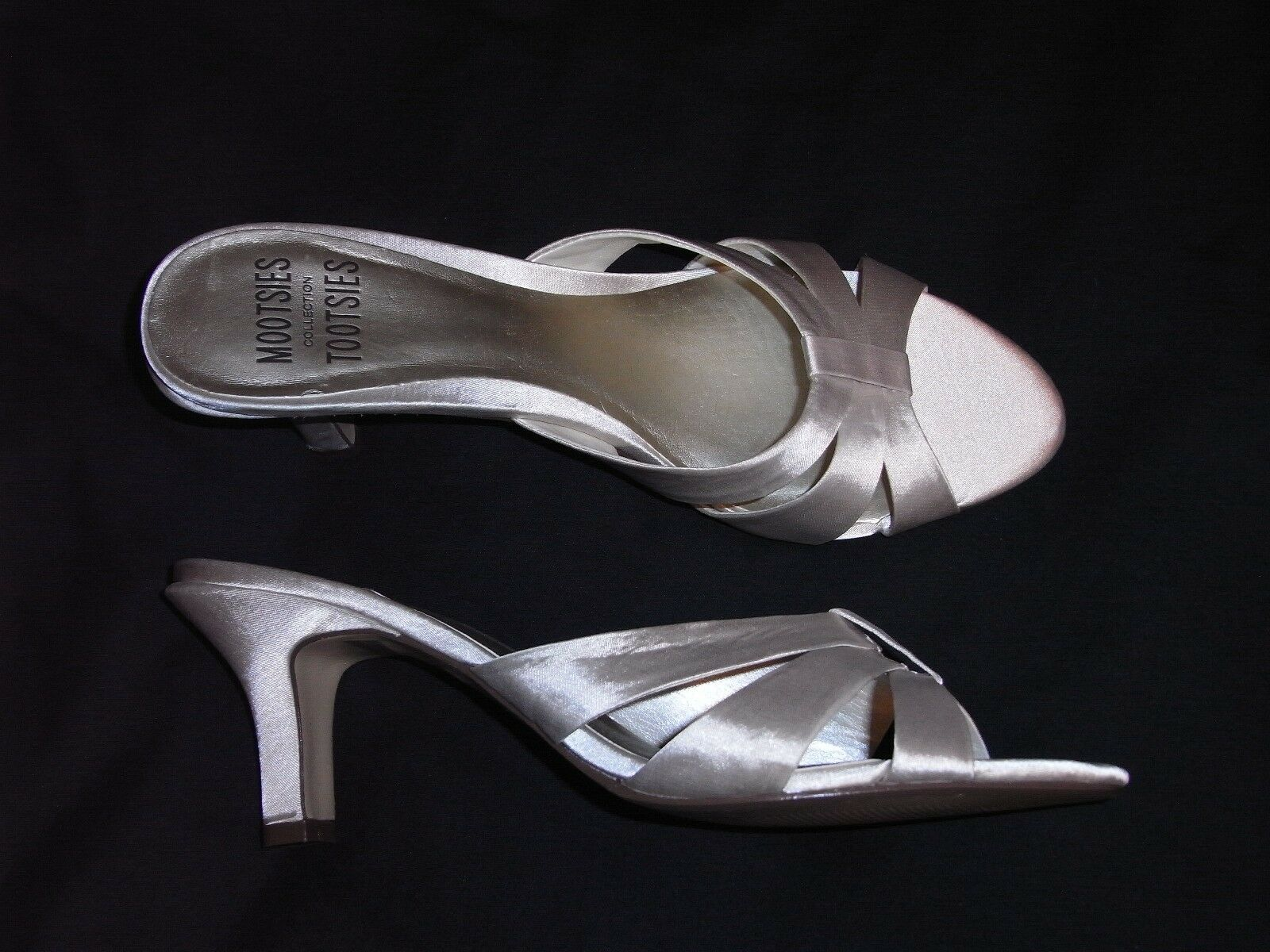 8.5 M Mootsies Tootsies White Satin Ladies soles Shoes High heels leather soles Ladies off B 9788d9