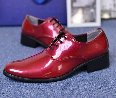 Mens Patent Leather Pointed Toe Block Heel Dress Formal Spliced Color Fashion sz