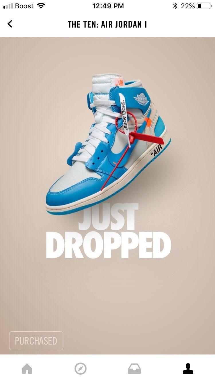 The Ten Air Jordan 1 Off White UNC bluee Size 11 Sneaker In Hand