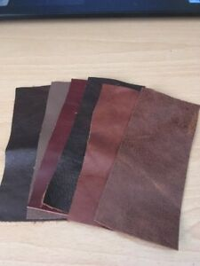6-XBROWN-LEATHER-OFFCUTS-SCRAPS-REMNANTS-FOR-PATCHWORK-REPAIRS-CRAFTS