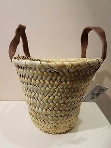 039-French-039-Market-Basket-Hand-Made-in-Morocco-Duck-Baby-Basket-leather-handles